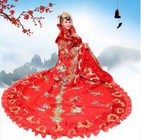 fbede66299e Elegent Trailing königlichen Königin Outfit chinesischen alten Tang  Ming-Dynastie Prinzessin Kostüm Fee Bühne Kleid Suzhou Stickerei POP