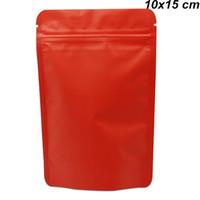 sellar galletas al por mayor-Bolsas sellables de 10x15 cm rojo mate de aluminio puro para bolsas de caramelo Galletas Mylar Foil Zip Lock Self Seal Almacenamiento para refrigerio Bolsas de embalaje