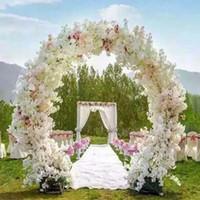 decorações flor cereja venda por atacado-1 Metro Longo Artificial Simulação Flor De Cerejeira Buquê de Casamento Arco Decoração Garland Home Decor Para Frete Grátis