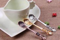 Wholesale Small Metal Spoons - Vintage Alloy Coffee Spoon Crown Palace Carved Dining & Bar Tableware Small Tea Ice Cream Sugar Cake Dessert Dinnerware Spoons Scoop