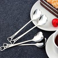 favores de la boda cuchara forma de corazón al por mayor-Amantes románticos en forma de corazón té de café de café Cuchara amante de la boda Favors vajilla de acero inoxidable 2 in1 coffee Spoon