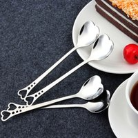 löffel bevorzugt großhandel-Romantische Liebhaber Heart Shaped Love Kaffee Tee Messlöffel Hochzeit Liebhaber Favors Edelstahl Abendessen Geschirr 2 in1 Kaffeelöffel