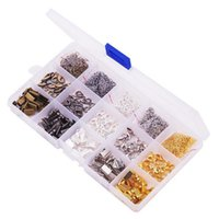Wholesale hook ends - 2018 Metal Jewelry Making Fold Over Cord End Crimps Ribbon Clamps Jump Rings Lobster Clasps Box Kit G195L