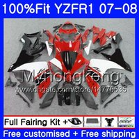 carenado en venta r1 yamaha al por mayor-Rojo blanco en venta Cuerpo de inyección para YAMAHA YZF R 1 YZF 1000 YZFR1 07 08 227HM.16 YZF R1 07 08 YZF1000 YZF-1000 YZF-R1 2007 2008 Fairing Kit