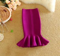 Wholesale pencil skirt knit - 2017 New Women Skirt Flounced Hem Midi Skirt Slim Knitting OL Pencil Beautiful Ladies Fishtail Skirts Jupe Femme 1166