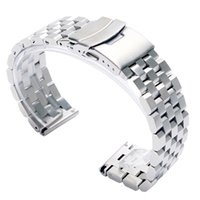 часы для женщин серебристый оптовых-High Quality 20/22mm Silver/Black Bracelet Men Women Watch Band Strap Cool Replacement Solid Link Stainless Steel Watchstrap