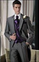 gri ustura stilleri toptan satış-Yeni Tasarım Koyu Gri Tailcoat Damat Smokin Sabah Stil Erkekler Düğün Aşınma Mükemmel Erkekler Örgün Balo Parti Suit (Ceket + Pantolon + Kravat + Yelek) 947