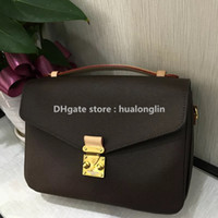 Wholesale designers handbags for sale - Group buy Shoulder Bag Woman Sale Discount Quality Metis Handbag Genuine leather handle brand designer floral letters checkers plaid