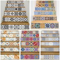 almohadillas adhesivas fuertes al por mayor-17 Diseño de azulejos de mosaico de pared pegatinas de escalera autoadhesivo impermeable PVC etiqueta de la pared cocina pegatinas de cerámica decoración del hogar