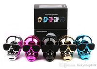 Wholesale hands free mp3 player - New Portable Skull Bluetooth Speakers Skull Head Ghost Wireless Stereo Subwoofer Mega Bass D Stereo Hand free Audio Player Mini Speaker DHL