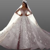 brauthals blume großhandel-Luxus Perlen Blumen Tüll Brautkleider Sheer Neck Long Sleeves Illusion Mieder Ballkleid Brautkleider Kathedrale Zug