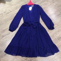 lange hülse weinlese silk kleider großhandel-Blaue Kleider Party Style Vintage Frauen Casual Langarm Seidenkleid Herbst 2018 Hochwertige A-Linie Plissee Midi Kleid Gürtel