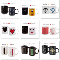 Wholesale tea cups animals - Heat Changing Mug Animal Constellation Magic Coffee Milk Water Cup Heat Sensitive Porcelain Tea Cup(10OZ) For Battery Smiling Love HH7-1017