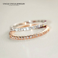 Wholesale Gold Plated Knuckle Rings - Elegant!!! Rose Gold Color Rhinestones Micro Inlays 1mm Thin Lady Finger Knuckle Ring Wholesale 18krgp