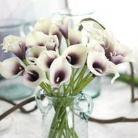 flores reais flores casamento bouquet venda por atacado-Lírios de Calla Real Toque Flores Para Bouquets de Casamento Centrais de flores artificiais para o casamento Decoração de escritório flores