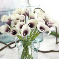 flores artificiales calla al por mayor-Lirios de cala Real Touch Flores Para Ramos de Boda Centros de mesa flores artificiales para boda Decoración de oficina flores
