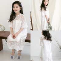 Wholesale tea length holy communion dresses - Cute New Beach Boho Flower Girl Dresses 2018 Lace Holy Little Kids Communion Gowns Jewel Neck Kid Formal MC1681