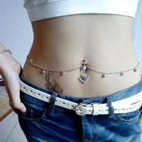chaîne de haltères piercing achat en gros de-Bijoux Sexy, Auniquestyle Dainty Crystal Bar Taille Chaîne En Acier Inoxydable Pendentif Piercing Belly Barbell Anneau Navel Avec La Chaîne De Taille 3Colors