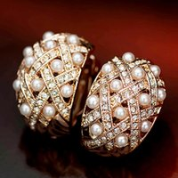 bijoux de mariage luxueux plaqués rhodium achat en gros de-haute qualité mode bijoux de mariage mariée rose couleur or plaqué luxueux boucles d'oreilles clip perle sans perçage pour les femmes