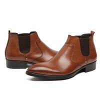 venda de botas de tornozelo couro mens venda por atacado-Tornozelo mens botas vendas de couro genuíno deslizamento preto clássico clássico escritório de negócios ankle boots masculinos homens sapatos 2017