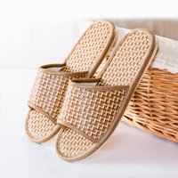 Wholesale Wholesale Wooden Couple - 2017 New rattan home couple slippers wooden floor home indoor straw slippers cool summer wholesale XW-3