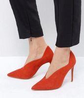 ingrosso i pattini dell'alto tallone di colore arancione-2018 nuove donne di arrivo pompe tacco sottile partito scarpe in pelle scamosciata pompe punta a punta scarpe tacchi alti scarpe da donna di colore arancione