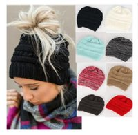 Wholesale Green Ponytail - Hats Trency Knit Slouchy Women Warm Thick Warm Winter knitted Chunky Soft Slouchy Beanie Ponytail Stretchy Designer Hats Free Shipping
