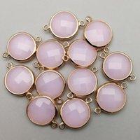 llantas rosas al por mayor-Moda 12 unids Pink Glass Colgante Charms Gold Rim Cuarzo para Pulsera Collar Conector DIY Jewelry Making Wholesale