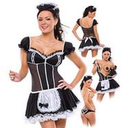 damla gemi kostümleri toptan satış-Artı boyutu 4XL Hizmetkar Kadınlar Cosplay Siyah Ve Beyaz Parti Cadılar Bayramı Kısa Kollu Seksi elbise Fransız Hizmetçi Kostümleri Drop Shipping C18111601