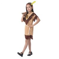 Wholesale indian costume kids online - Halloween Children Performance Party Costume Kids Indian Girls Cosplay Clothing Fashion Savage Dress