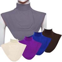 halsabdeckung hijab großhandel-Frauen Modal False Collar Hijab Moslem Islamic Pure Color Neck Cover Loop Schal