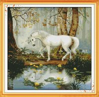 ingrosso arredamento del lago-White horse lake side decor paintings, Ricamo a punto croce fatto a mano Set di ricamo contato stampa su tela DMC 14CT / 11CT