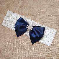 Wholesale vintage bridal garters - Wedding Garter Vintage Navy Ribbon Bow Bridal Lace garter with Rhinestone