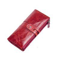 longo, iphone, embreagem venda por atacado-New real do couro das mulheres saco de embreagem moda carteira de couro feminino longo carteira senhoras zipper carteira bolsa iPhone