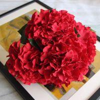 ingrosso piante artificiali di ortensia-Hydrangea Artificial Flowers 5 Big Heads 2 Bounquet Decorazione di cerimonia nuziale Piante artificiali Accessori per la decorazione della casa P30