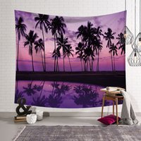 ingrosso arazzo muro viola-Purple Sky Wall Hanging Hanging Tapestry Home Decor Tessuto Palm Trees Arazzi Sheets Beach
