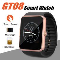 ios için akıllı duvar kağıdı toptan satış-GT08 Android Akıllı Telefonlar Için Akıllı Izle Bluetooth Smartwatches SIM Kart Yuvası Perakende Kutusu ile Android için NFC Sağlık Izler