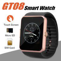 nfc uhr großhandel-GT08 Smart Watch Bluetooth Smartwatches für Android-Smartphones SIM-Kartensteckplatz NFC Health Watchs für Android mit Retail Box
