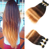 Wholesale Free Hair Dyes - Mongolian Straight Hair 3 bundles Virgin Hair Bundle Deals Three Tone 1b 4 30 Ombre Human Hair 100g bundle Total 300g Free Shipping