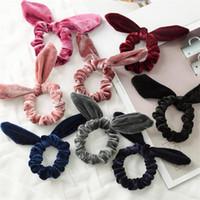 Wholesale rabbit ears hair ring resale online - cute velvet rabbit ear hairband for baby girls women headband brief korean style winter autumn hair ring