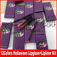 Wholesale purple lipstick brands online - New Brand Makeup Hollaween Edition Matte Liquid Lipstick Lip Liner Lipkit colors Purple Lip Gloss Kit