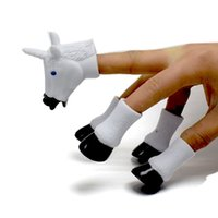 Wholesale toy feet finger resale online - Unicorn Finger Toys Cartoon Fingers Dolls Four Feet One Horse Head Toys Sets For Kids Festival Party Gifts Factory Cheap Free DHL A850