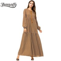 ingrosso abito lungo marrone casual-Benuynffy Brown Tassel Tie Big Swing Abiti 2018 Autunno Inverno Plus Size Donna Casual O-Collo manica lunga Polka Dot Maxi Dress