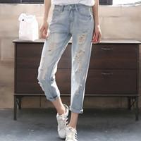 mavi harem pantolon kadınlar toptan satış-Kadınlar Için Yırtık Kot Dokuz Harem Pantolon Kot Kadın Bahar Ve Yaz Açık Mavi Kadınlar