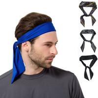 headbands de esportes sólidos venda por atacado-Mulheres Homens Listrado Sólida Gravata Esporte Headband Não-Slip Trecho Sweatbands Umidade Wicking Workout Yoga Correndo Headbands