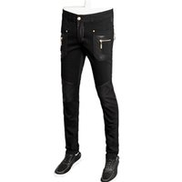 Wholesale Leather Pants 36 Men - top quality fashion men leather jacket slim fit skinny pu straight trousers 28-36 CYG98
