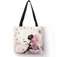 customized tote bags Canada - Wishing Girl Print Linen Reusable Shopping  Bags Traveling Bags Women Fashion 1bb0d261fc776