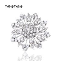 broşlar iğne düğün davetiyesi toptan satış-Toptan Kristal Rhinestones Çiçek Düğün Davetiyesi Kek Dekorasyon için Broşlar Buket Kiti Broş Pins Sıcak Satış BRH1140