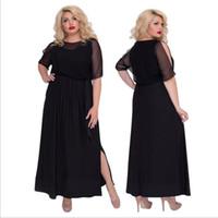 вечерние платья больших размеров женщины оптовых-2018 Elegant Evening Party Dress Black Mesh Sexy Women Dress Plus Size Summer Long Maxi 5XL 6XL Big Vestidos