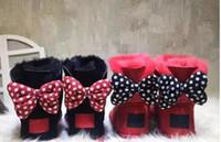 marcas de botas de australia al por mayor-2018 Nuevo clásico de alta calidad WGG Mickey Australia botas altas de invierno clásico de cuero real Bailey Bowknot bailey mujer arco de arranque de nieve